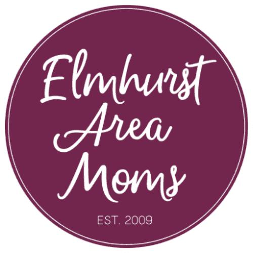Illustrated logo for the Elmhurst Area Moms group in Elmhurst, IL
